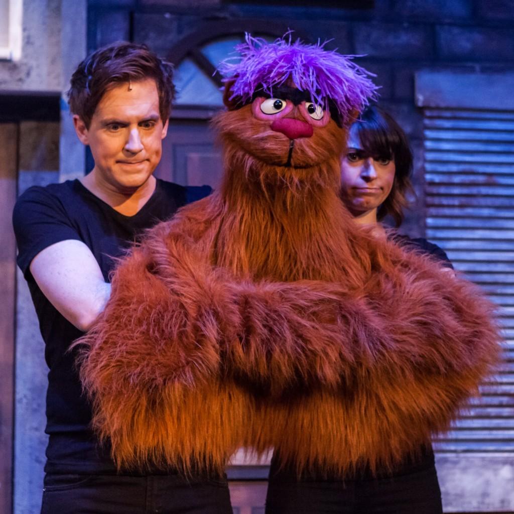 Stephen Arden and Jessica Parker as Trekkie Monster in Avenue Q. Photo Credit Darren Bell